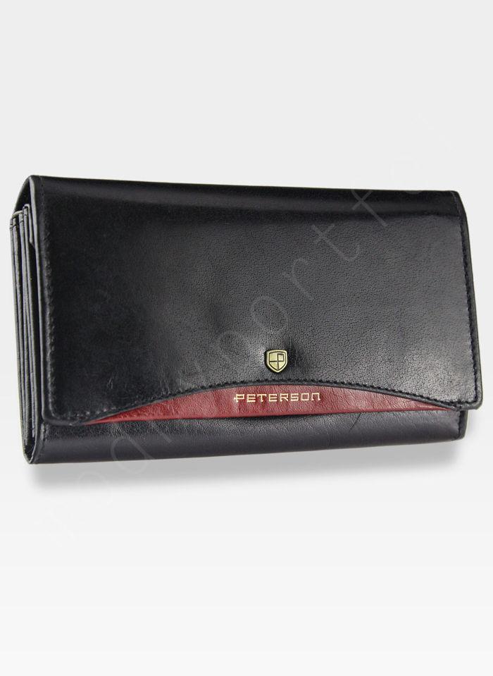 Portfel Damski Skórzany PETERSON 411.01 Czarny + Czerwony