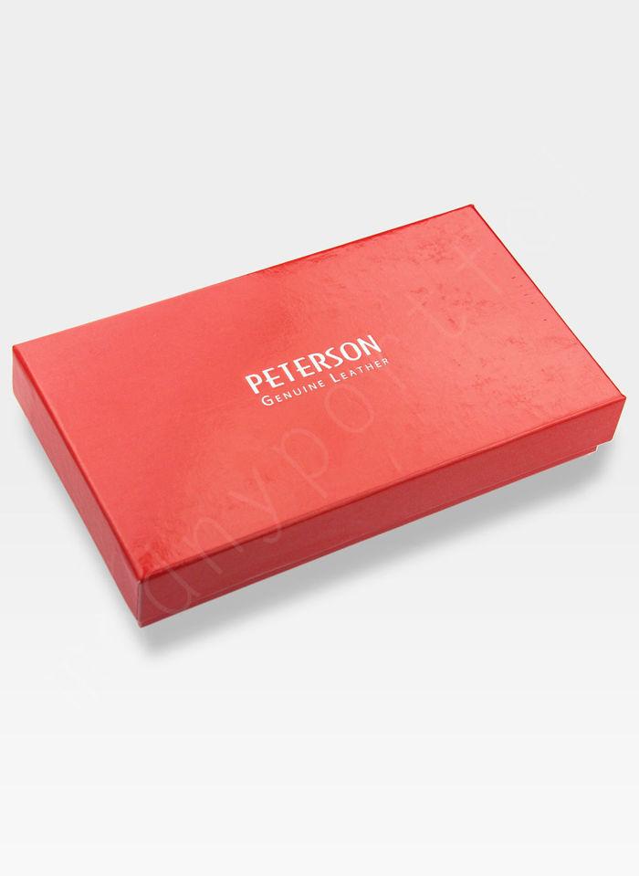 Portfel Damski Skórzany PETERSON 411.01 Czerwony + Czarny