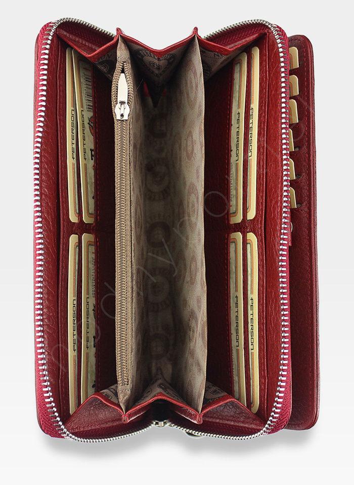 Portfel Damski Skórzany PETERSON 496 Czerwone w Łatki