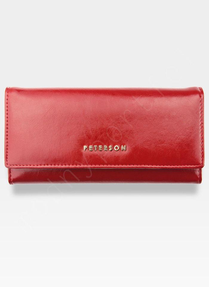 Portfel Damski Skórzany PETERSON 705C Czerwony + Beż