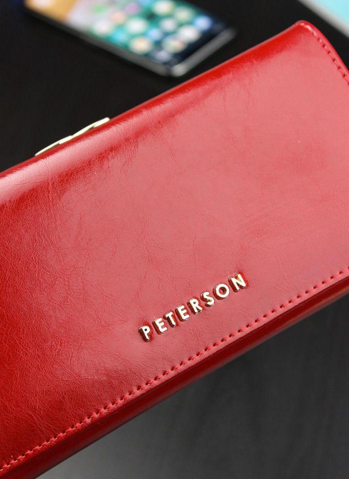 Portfel Damski Skórzany PETERSON 721 Czerwony
