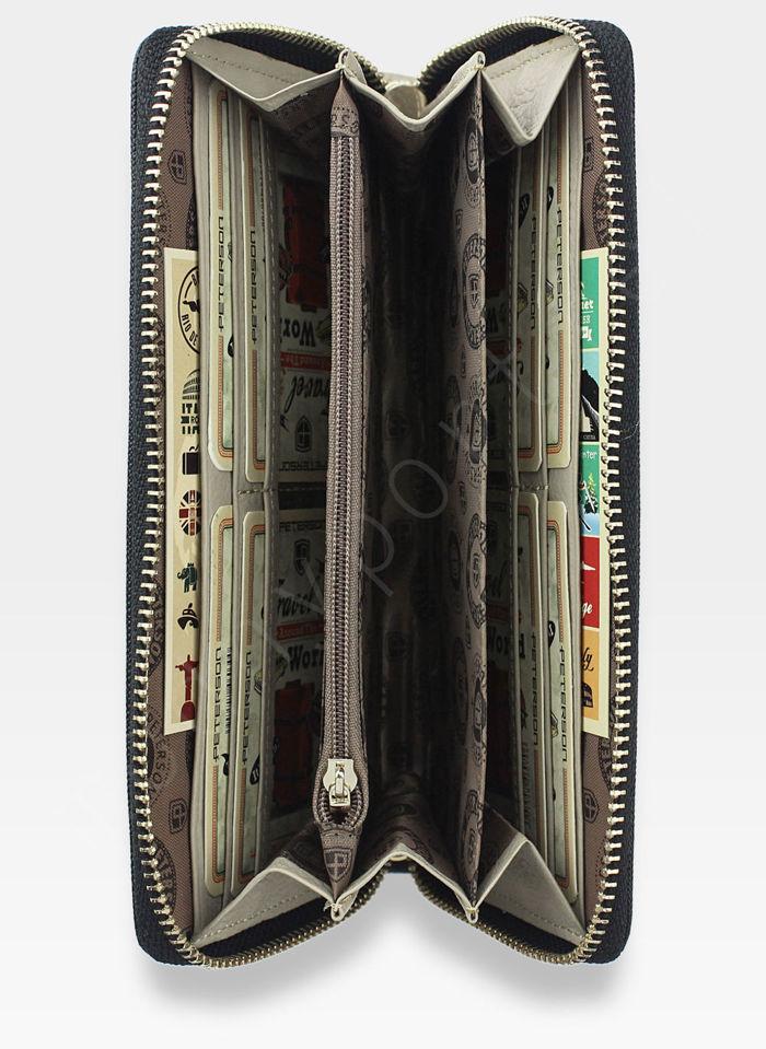 Portfel Damski Skórzany PETERSON 780 Czarny + Złoty