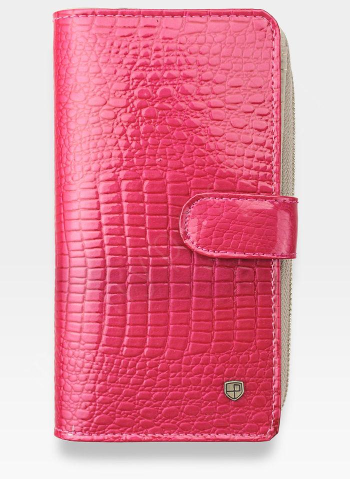 Portfel Damski Skórzany PETERSON Lakierowany 603 Różowy + Beż