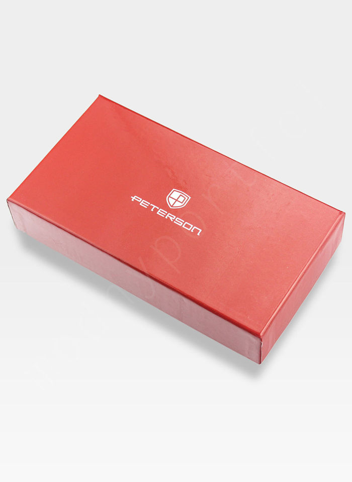 Portfel Damski Skórzany PETERSON Lakierowany 603 Srebrny + Beż