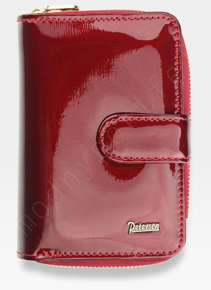 Portfel Damski Skórzany PETERSON Lakierowany Ekskluzywny Czerwony 602