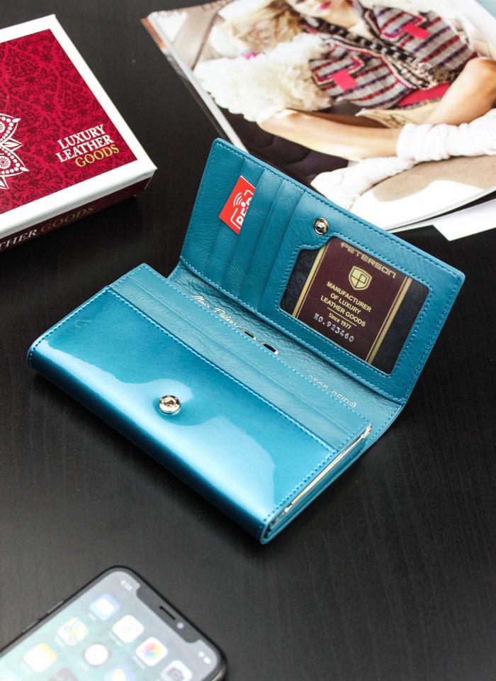 Portfel Damski Skórzany PETERSON Lakierowany TURKUS System RFID 466