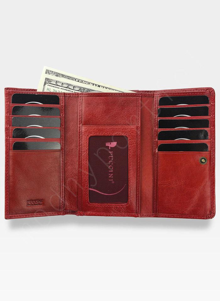 Portfel Damski Skórzany PUCCINI Klasyczny Czerwony z Biglem 1805P