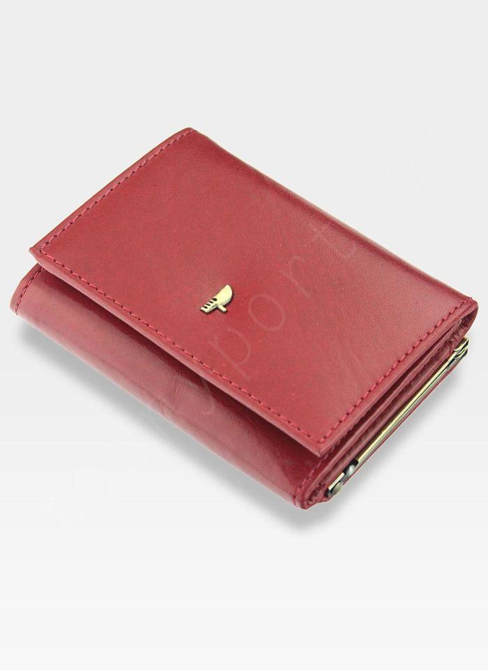 Portfel Damski Skórzany PUCCINI Klasyczny Czerwony z Biglem MU 1701 Mały