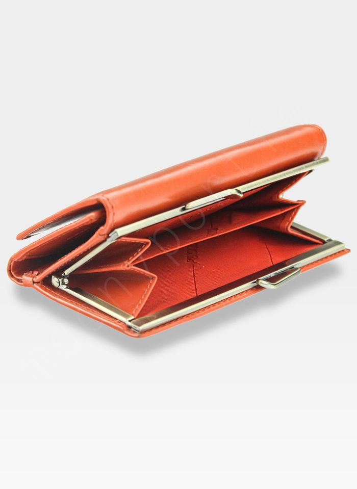 Portfel Damski Skórzany PUCCINI Klasyczny Pomaranczowy z Biglem 1805P