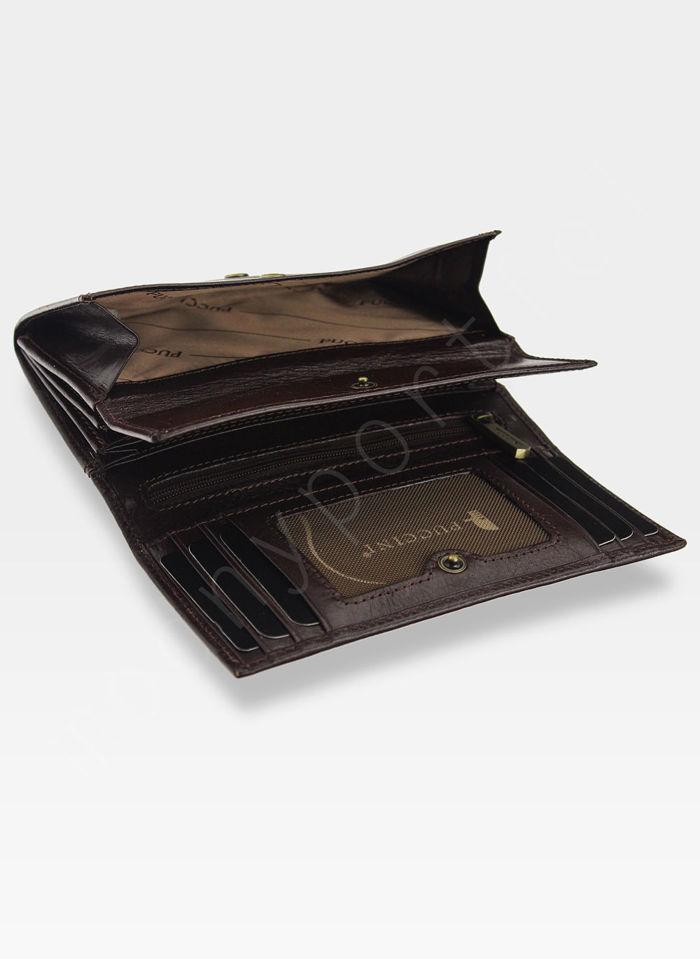 Portfel Damski Skórzany PUCCINI Rozbudowany Ciemny Brąz 1958P