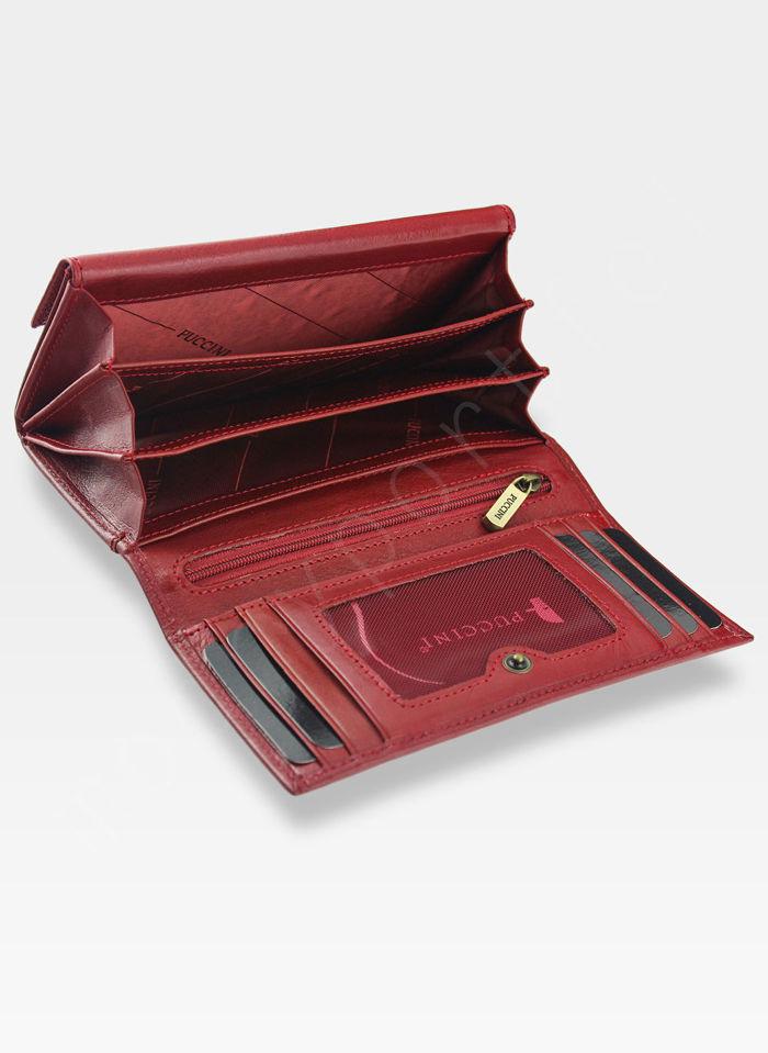 Portfel Damski Skórzany PUCCINI Rozbudowany Czerwony 1958P