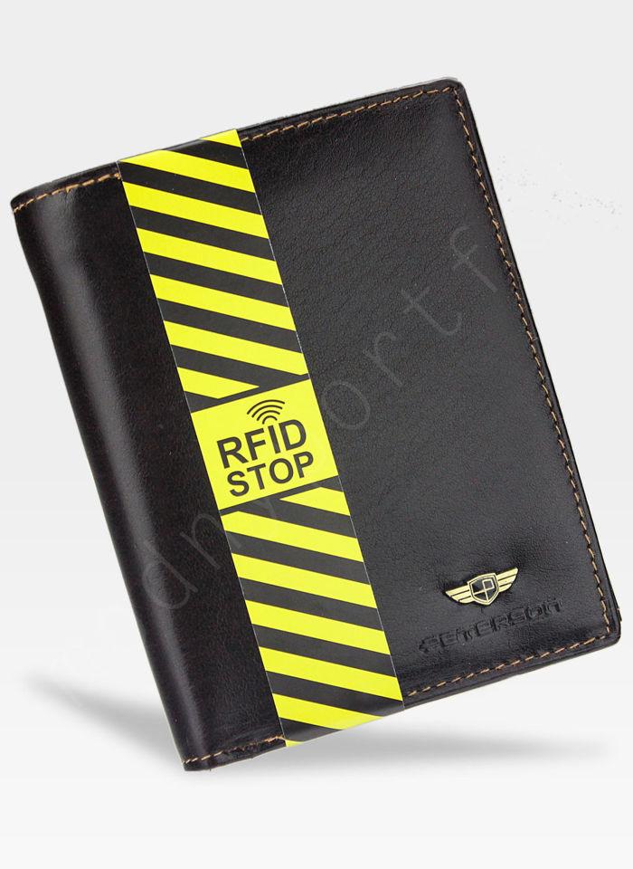 Portfel Męski Peterson Ciemny Brąz Skórzany 339 System RFID STOP
