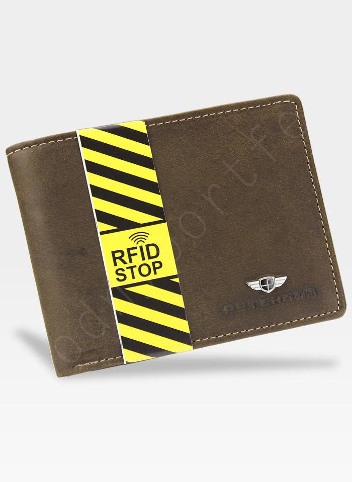 Portfel Męski Peterson Skórzany 304 Brązowy System RFID STOP