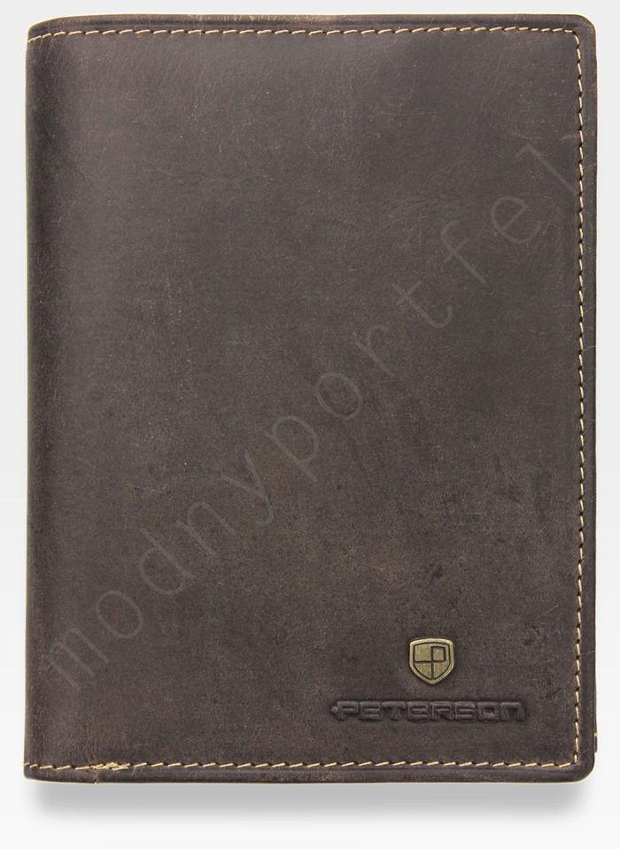 Portfel Męski Peterson Skórzany 324 Jasny Brąz Nubuk Miejsce Na karte SD