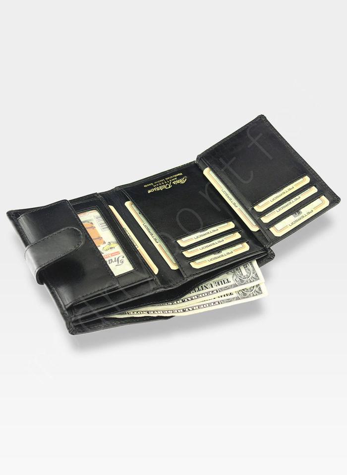 Portfel Męski Peterson Skórzany Czarny Zapinany z Systemem RFID Pojemny 314