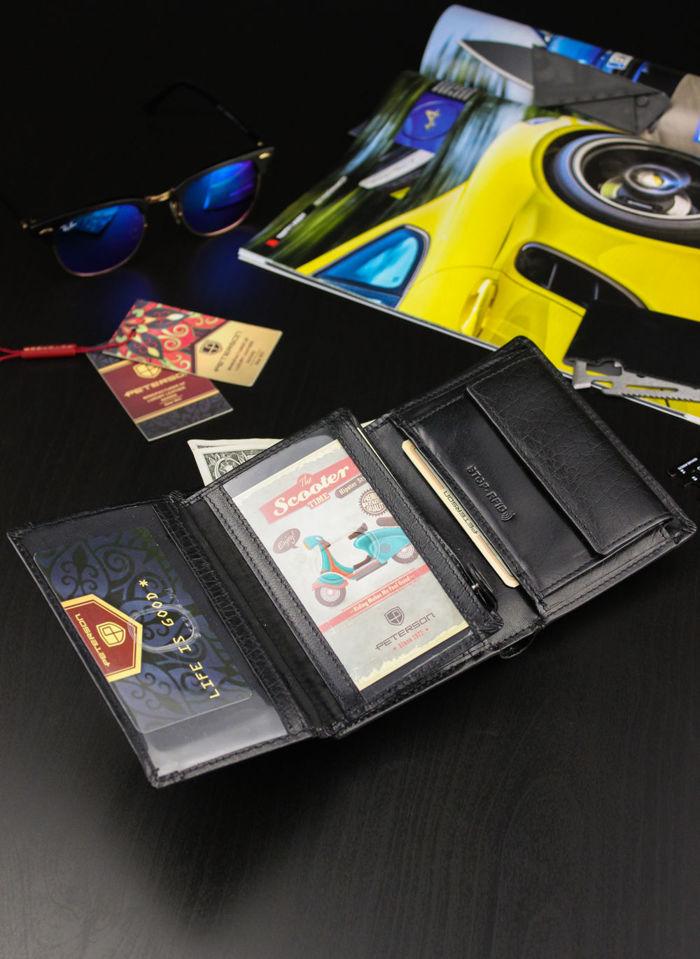 Portfel Męski Peterson Skórzany Motor 348 Mieści Dowód Rejestracyjny w Etui! Łańcuch System RFID
