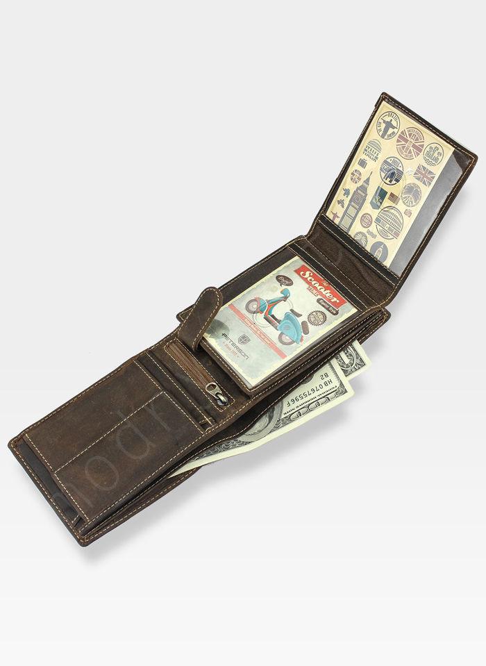 Portfel Męski Peterson Skórzany Nubuk 304 Ochrona RFID