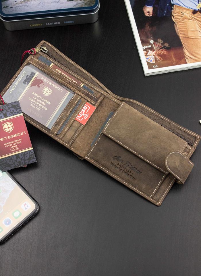 Portfel Męski Peterson Skórzany Poziomy Wyjątkowy Ukryte Karty 380 RFID STOP
