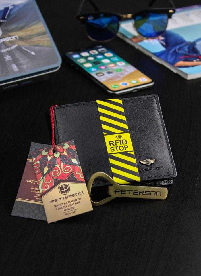 Portfel Męski Peterson Skórzany Skóra Naturalna System RFID STOP Otwieracz 312