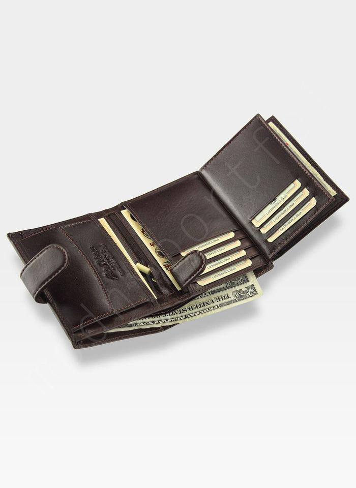 Portfel Męski Peterson Skórzany Wiśniowy Brąz 350Z