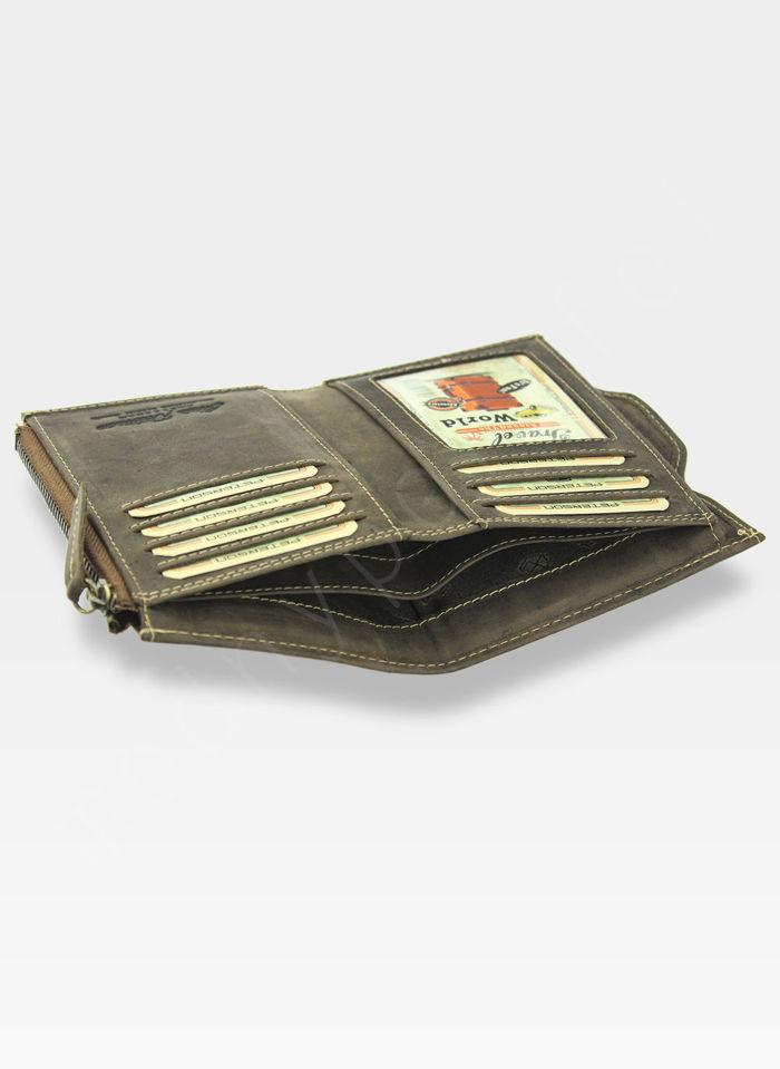 Portfel Męski Peterson Skórzany z wyciąganą wkładką  328 Jasny Brąz