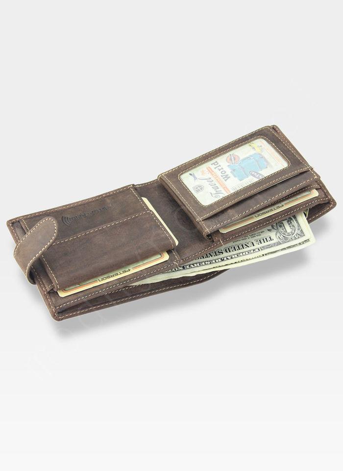 Portfel Męski Peterson Skórzany z wyciąganą wkładką Zapinany System RFID 308