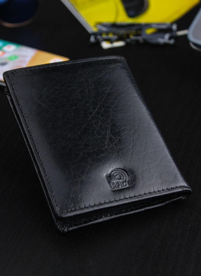 Portfel Męski Peterson Z osobną Bilonówką SLIM System RFID STOP Czarny 318