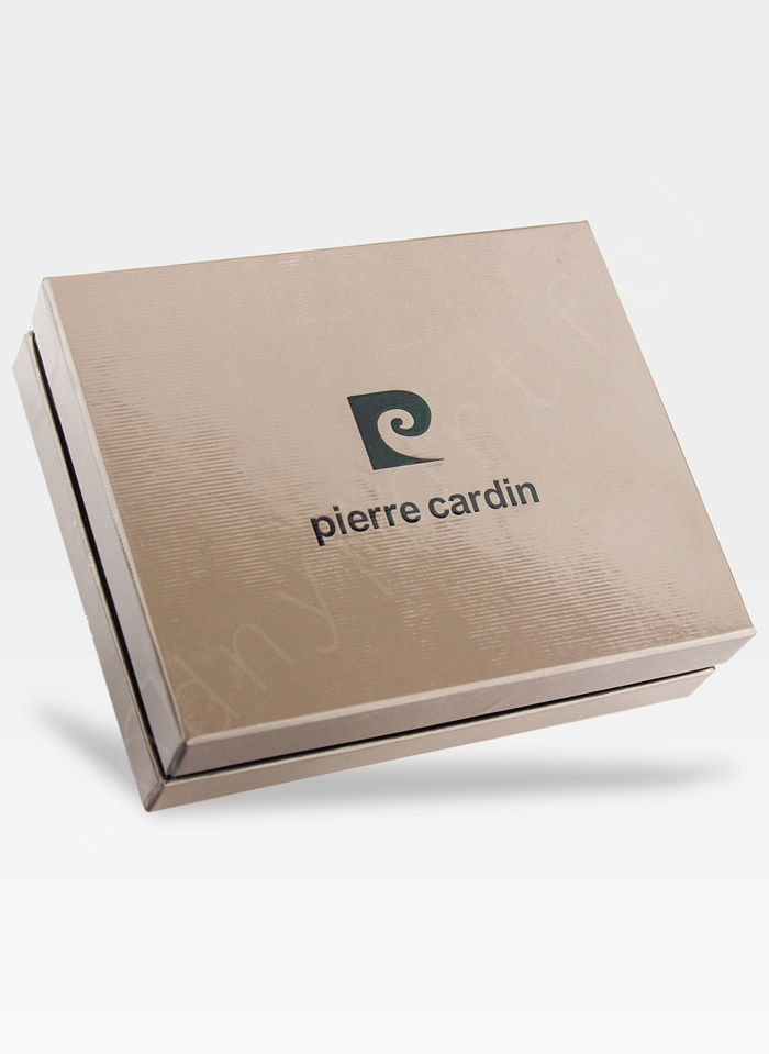 Portfel Męski Pierre Cardin Skórzany Brązowy Przeplatana Skóra CMP 326