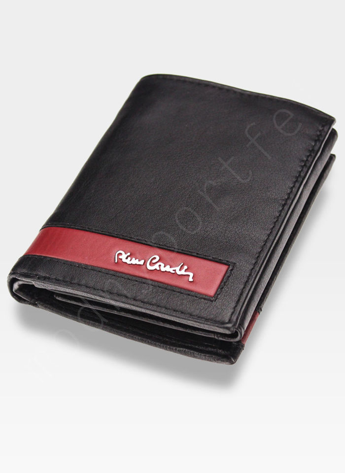 Portfel Męski Pierre Cardin Skórzany Klasyczny Czarny Tilak26 330 RFID Czarny + Czerwony