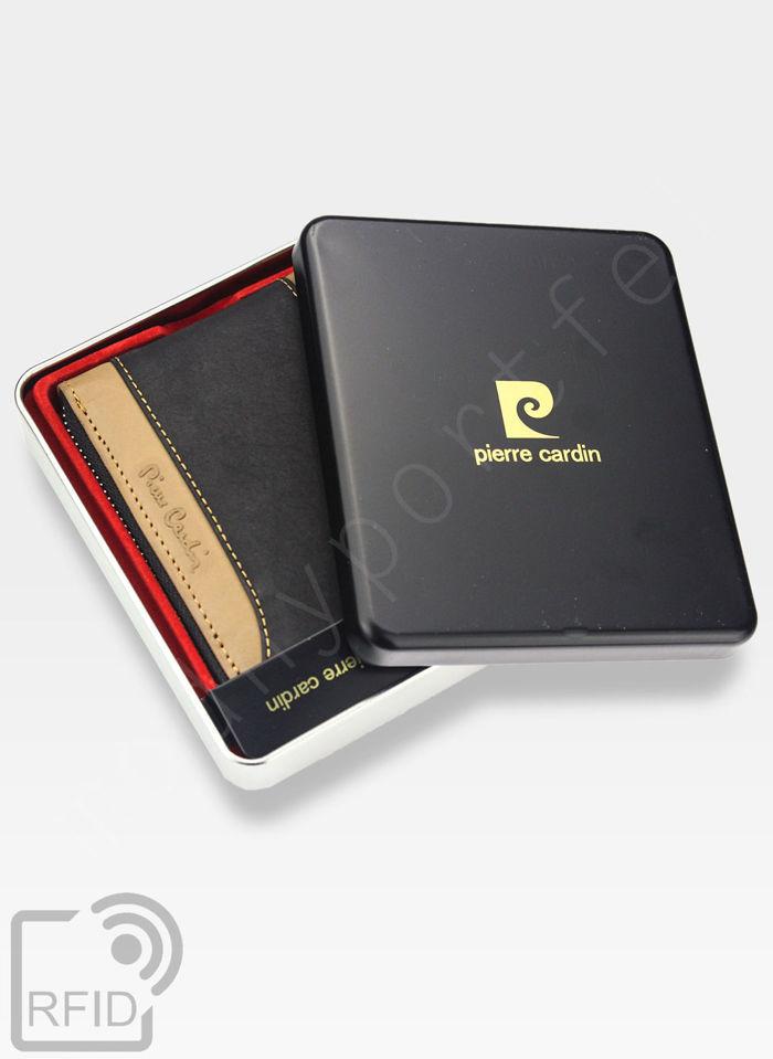 Portfel Męski Pierre Cardin Skórzany Poziomy Zapinany Suwak HUNTER 8818 Wbudowana ochrona RFID