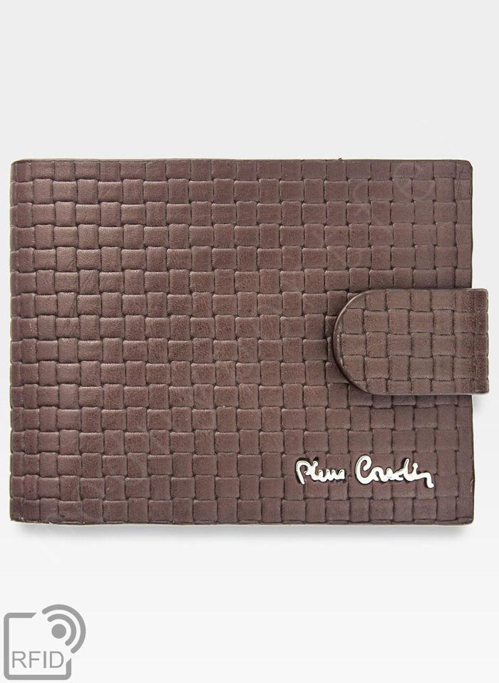 Portfel Męski Pierre Cardin Skórzany Zapinany Brązowy Poziomy Skóra Przeplatana RFID CMP 324A