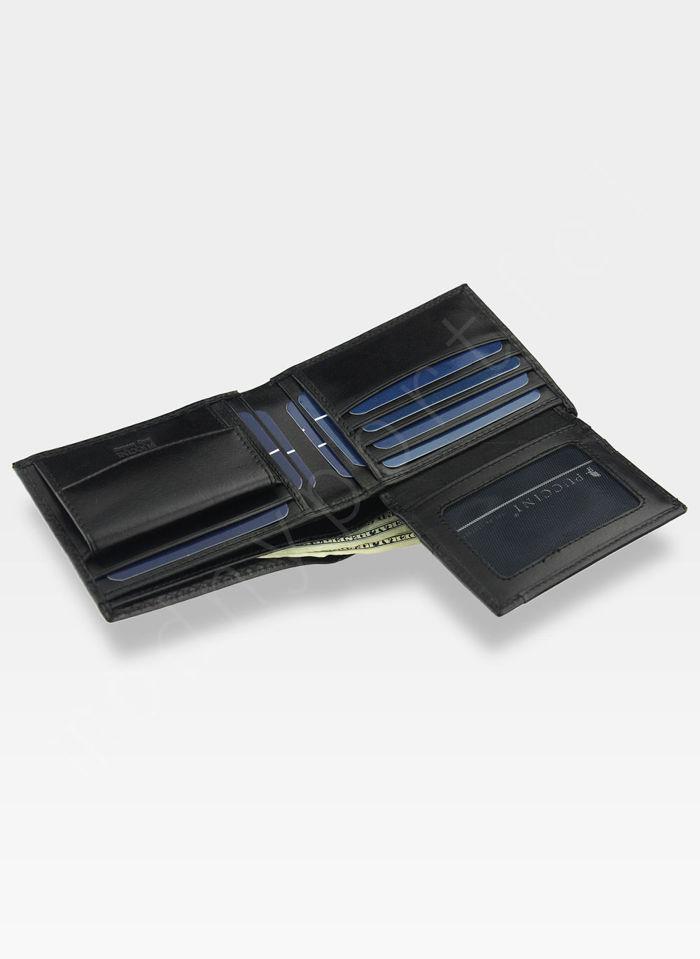 Portfel Męski Skórzany Puccini Czarny E1694 Kolekcja Orion 3D Wytłoczona Tekstura