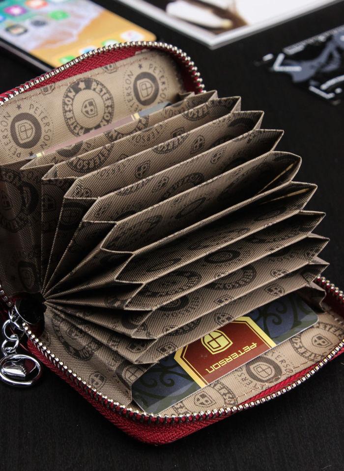 Skórzane Etui Na Wizytówki Karty Zapinane na zamek suwak Peterson 104