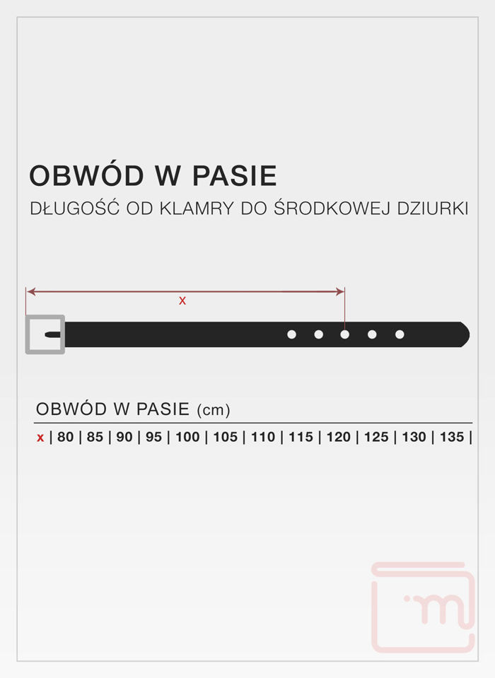 Skórzany Pasek Męski Pierre Cardin 70007  Super Jakość