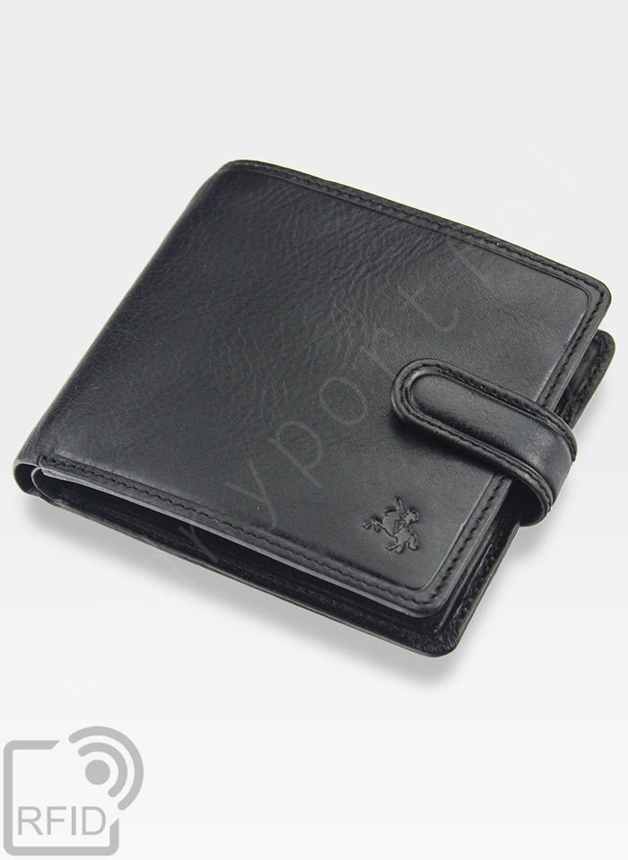 Viscont Bezpieczny Portfel Męski Skórzany Czarny RFID TSC41