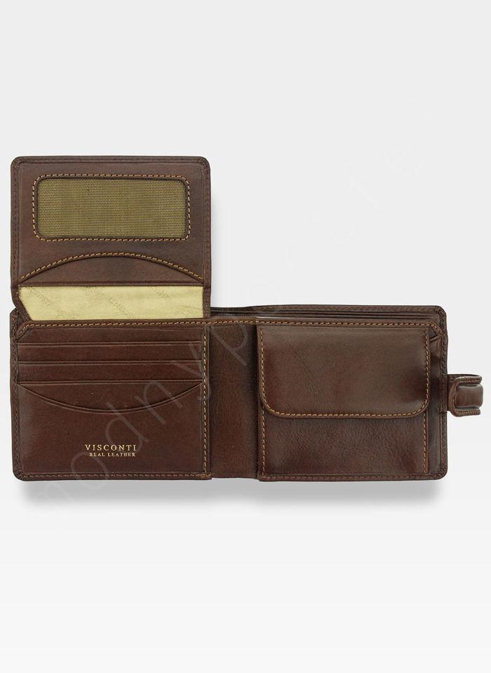 Viscont Bezpieczny Portfel Męski Skórzany Jasny Brązowy RFID TSC48