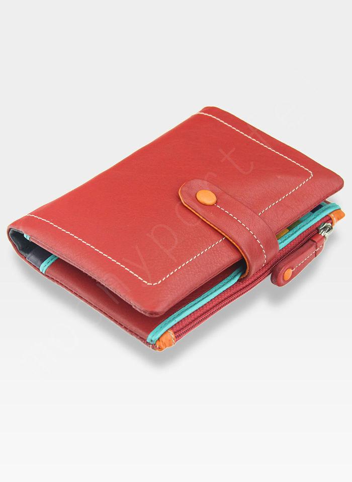 Visconti Portfel Damski Skórzany M87 Czerwony Multi