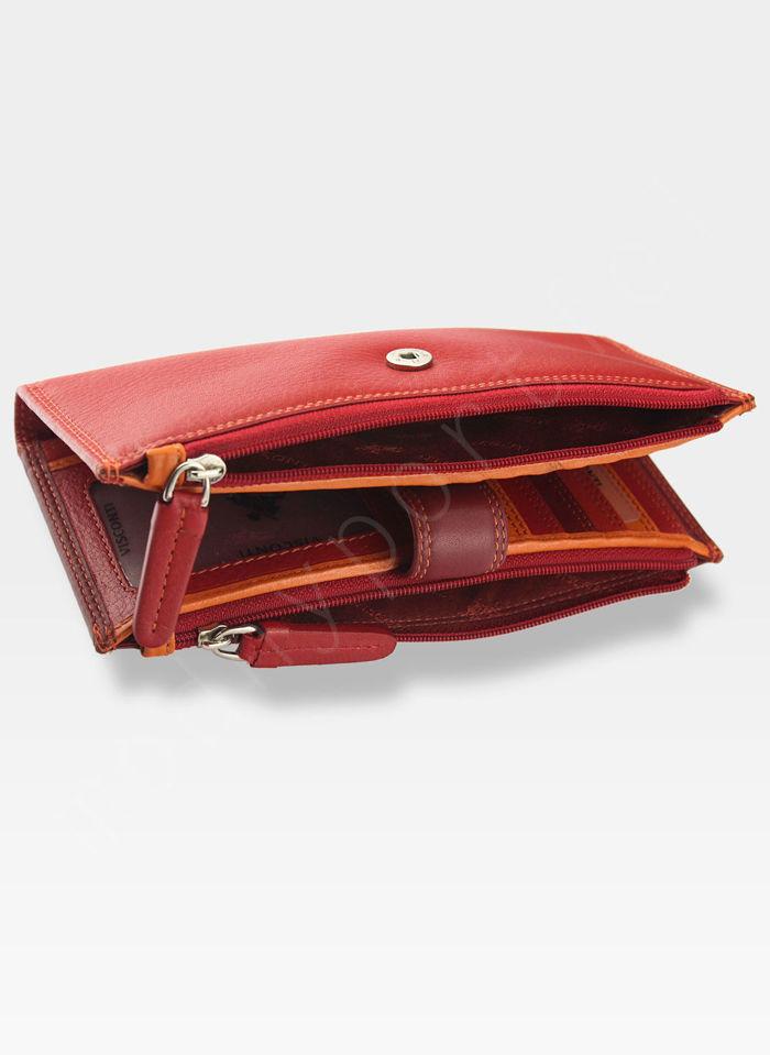 Visconti Portfel Damski Skórzany RAINBOW RB100 Czerwony Multi