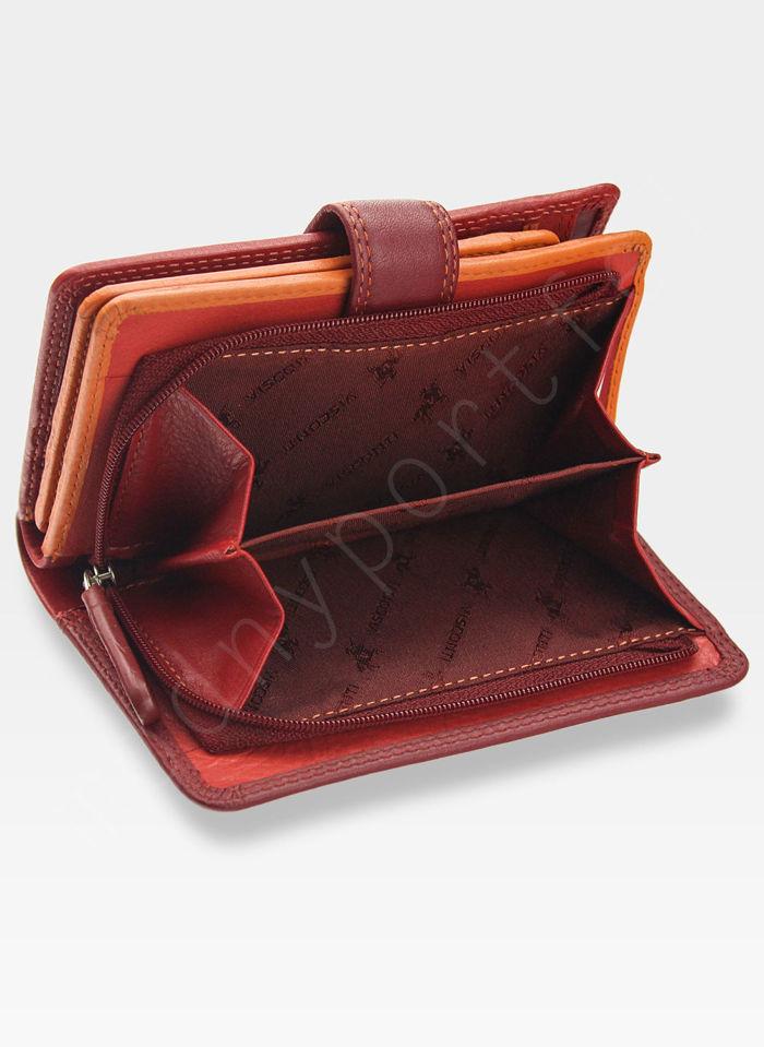Visconti Portfel Damski Skórzany RAINBOW RB51 Czerwony Multi