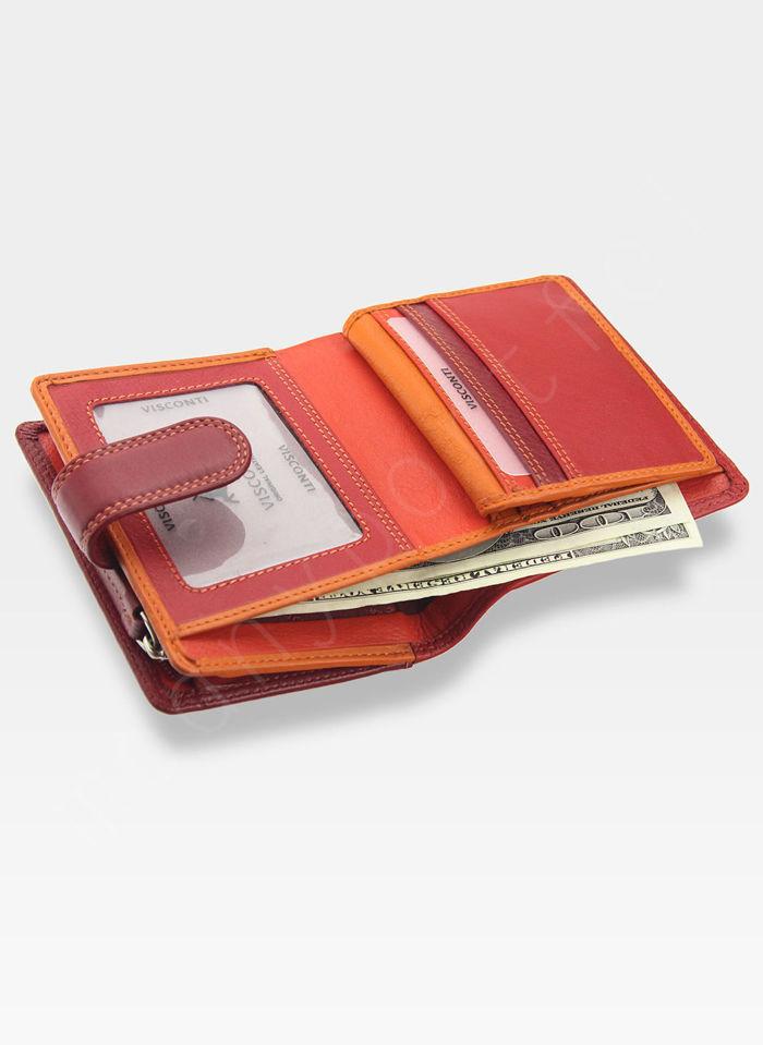 Visconti Portfel Damski Skórzany Rainbow RB40 Czerwony Multi