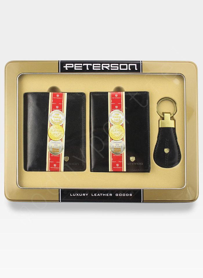 Zestaw Prezentowy Peterson Dla Niego Czarny (Portfel + Etui + Brelok)