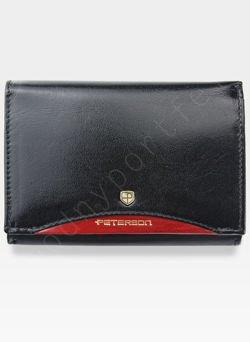 Portfel Damski Skórzany PETERSON Elegancki Klasyczny Bigiel 445.01 Czarny + czerwony