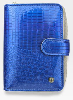 Portfel Damski Skórzany PETERSON Lakierowany 602 Niebieski + Beż