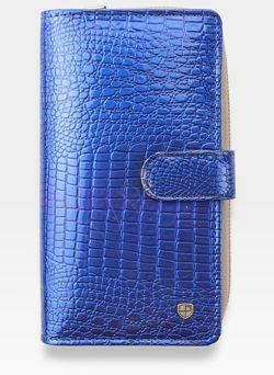 Portfel Damski Skórzany PETERSON Lakierowany 603 Niebieski + Beż