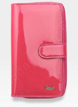 Portfel Damski Skórzany PETERSON Lakierowany Bardzo Pojemny Różowy 603